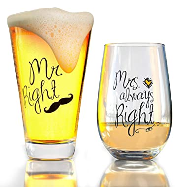 Funny Wedding Gifts - Mr. Right and Mrs. Always Right Novelty Wine Glass & Beer Glass Combo - Momstir Engagement Gift for Couples