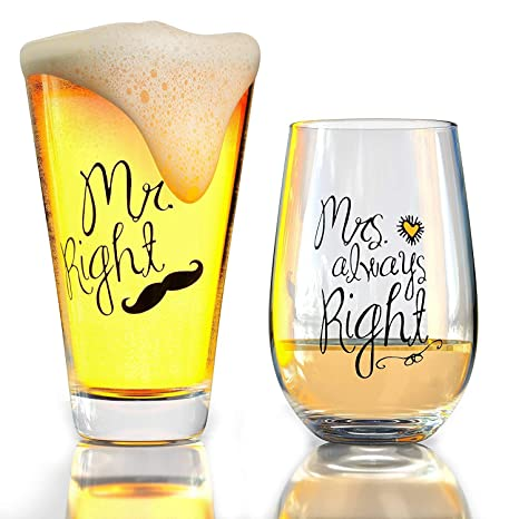 Funny Wedding Gifts.Funny Wedding Gifts Mr Right And Mrs Always Right Novelty Wine Glass Beer Glass Combo Thick Libbey Glassware Engagement For Her And Him Newlywed