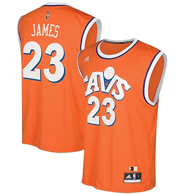 sports shoes 0b81f 3cce3 Lebron James Cleveland Cavaliers Replica Orange Throwback Youth Jersey Boys  8-20