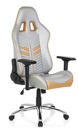 hjh OFFICE 729220 Silla Gaming League Pro Piel sintética Plateado/Dorado Silla Escritorio: Amazon.es: Hogar