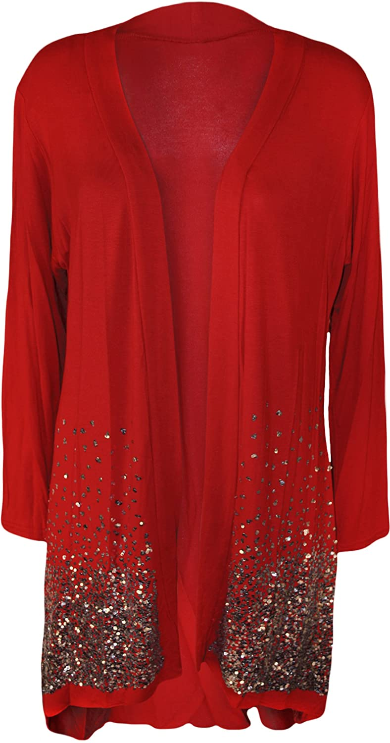 WearAll Women's Plus Size Sequin Cardigan at Amazon Women's ...
