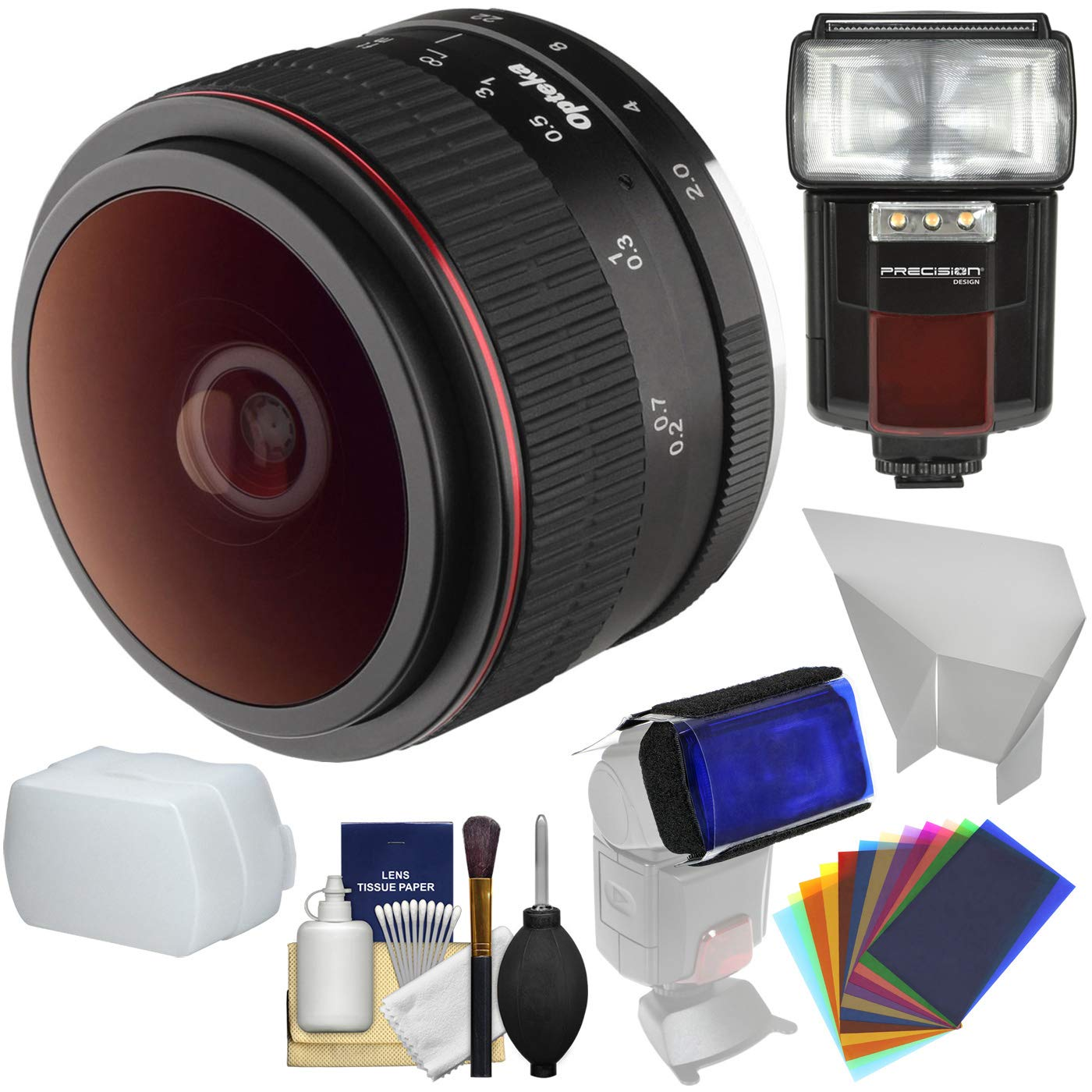 Opteka 6.5mm f/2 HD MF Prime Fisheye Lens with Flash + Diffusers + Color Gels Kit for Olympus OM-D, Pen & Panasonic LUMIX Micro 4/3 Digital Cameras by Opteka (Image #1)