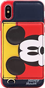 iPhone X Case, MC Fashion Cute [Cartoon Kickstand Series] with [Card Holder Stand] TPU + Leather Soft Protective Case for Apple iPhone X/iPhone Xs (Mickey Mouse)