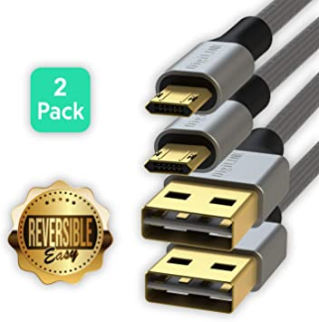 LINKUP - Reversible Micro USB Cable Braided Jacket w/Silicone ...