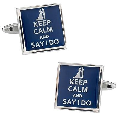 bouton de manchette keep calm and say i do