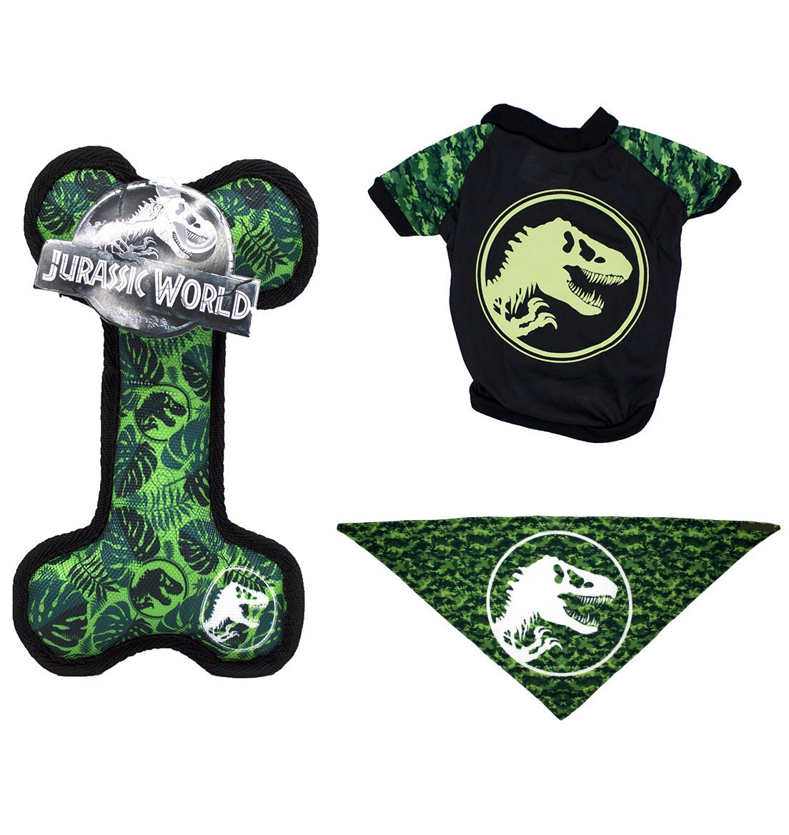 Jurassic World Logo Bandana, Oxford Bone Toy, and Logo T-Shirt in Size Small | Tee, Toy, and Bandana Set For Small Dogs, Small
