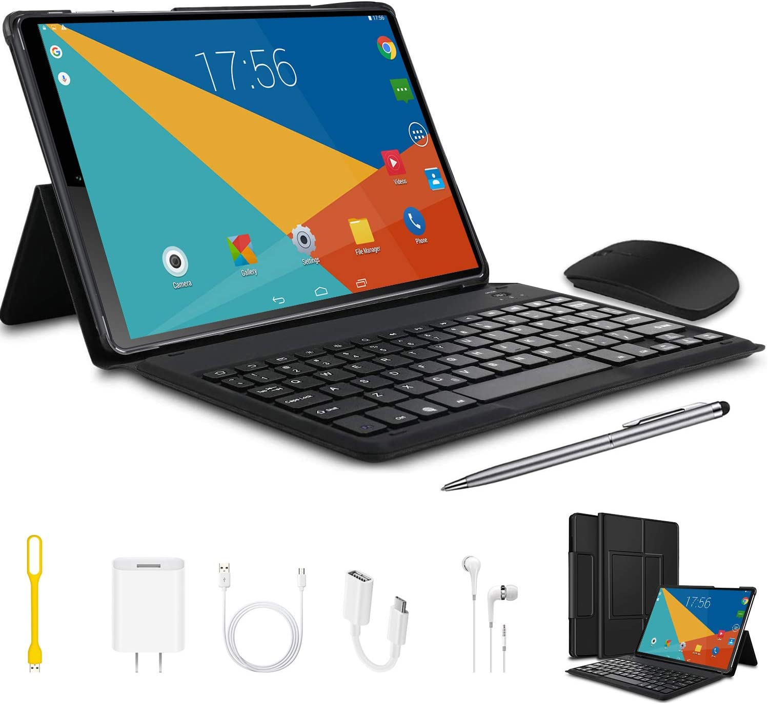 Tablets 10.1 inch 2 in 1 Android 9.0 Tablet with Keyboard 4GB RAM 64GB Storage,8MP Dual Camera Dual SIM 1920 x1200 IPS HD Touchscreen-Black