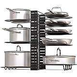 GeekDigg Pot Rack Organizer, 3 DIY Methods, Height and Position are Adjustable 8+ Pots Holder, Black Metal Kitchen Cabinet Pa