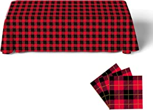 Gatherfun Disposable Birthday Tablecloth Rectangle Waterproof Oil-Proof Table Cover with Red and Black Plaid and Gold Stamping for Party Picnic Barbecue Dinner Parties (3PCS,54X108Inch)