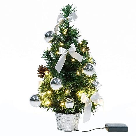 Weihnachtsbaum Silber Weiß.Eforink Mini Weihnachtsbaum Mini Tannenbaum Mit 40 Led Und Silber Deko Beleuchten Tannenbaum Led Baum Batteriebetrieben Warm Weiß 45cm
