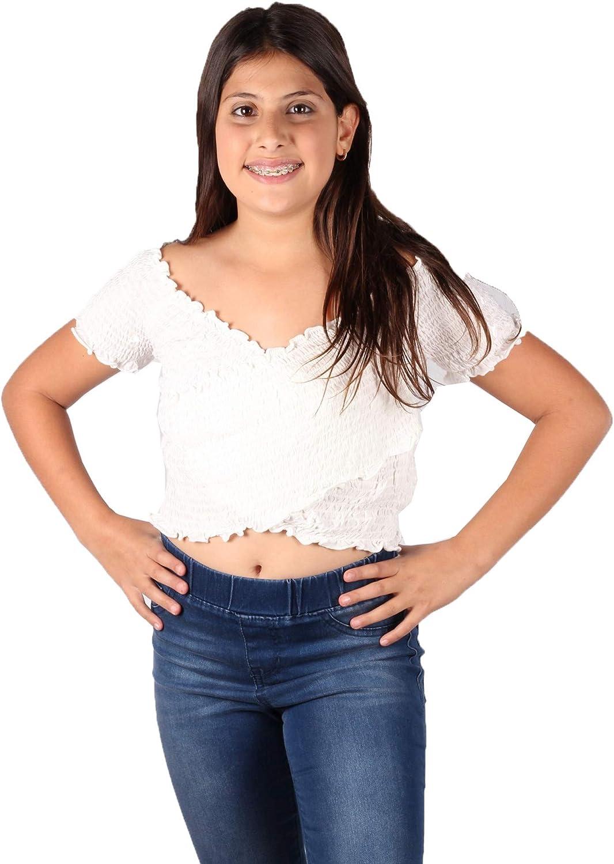 Lori /& Jane Big Girls White Elastic Smocked Crisscross Off-Shoulder Top 10-16
