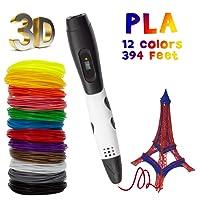 TOROTON 3D Stylo, Stylo d'impression 3D avec écran LCD, 12 couleurs différentes de filament PLA de 1,75 mm, chaque couleur 10 m, total 120 m, cadeau parfait pour les enfants et les adultes - Blanc