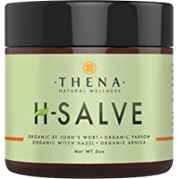 Organic H Salve Soothes & Relieves Hemmoroid & Fissure, Intense Natural Hemorrhoid Treatment Remedy, Herbal Essential Oil Healing Formula Ointment Emollient Cream Balm, Best with THENA Sitz Bath Salts