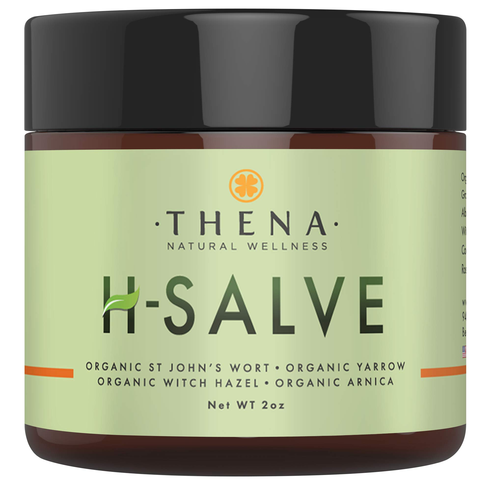 Organic H Salve Soothes & Relieves Hemmoroid & Fissure, Intense Natural Hemorrhoid Treatment Remedy, Herbal Essential Oil Healing Formula Ointment Emollient Cream Balm, Best with THENA Sitz Bath Soak by THENA Natural Wellness