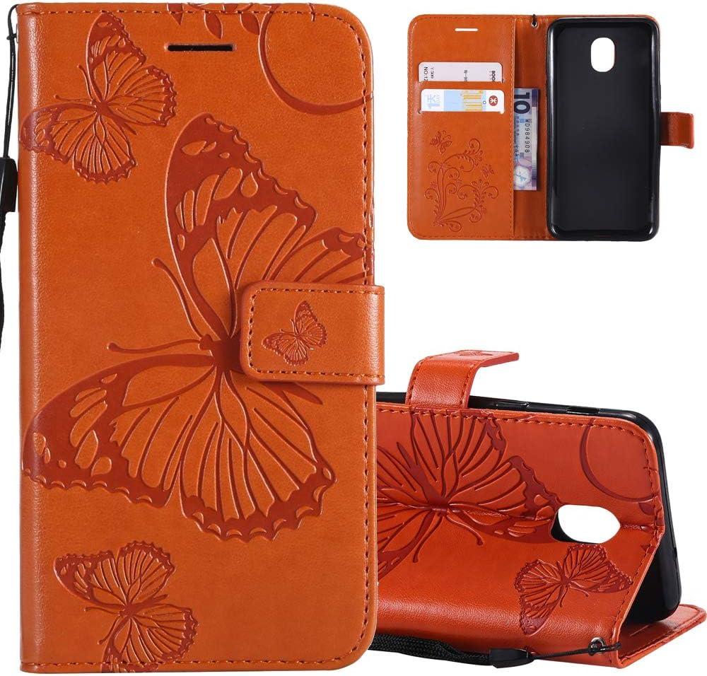 Mandala Brown KT HMTECHUS Samsung Galaxy J3 2018 case Sun Flower Embossed Floral Wallet Case Card Cash Slots Kickstand PU Leather Flip Stand Cover for Samsung Galaxy J3 2018 US Version