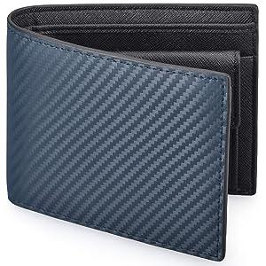 NUBILY 財布 メンズ 二つ折り 革 カーボンレザー 小銭入れ 防水 カード収納 お札入れ 大容量 ビジネス 紺色