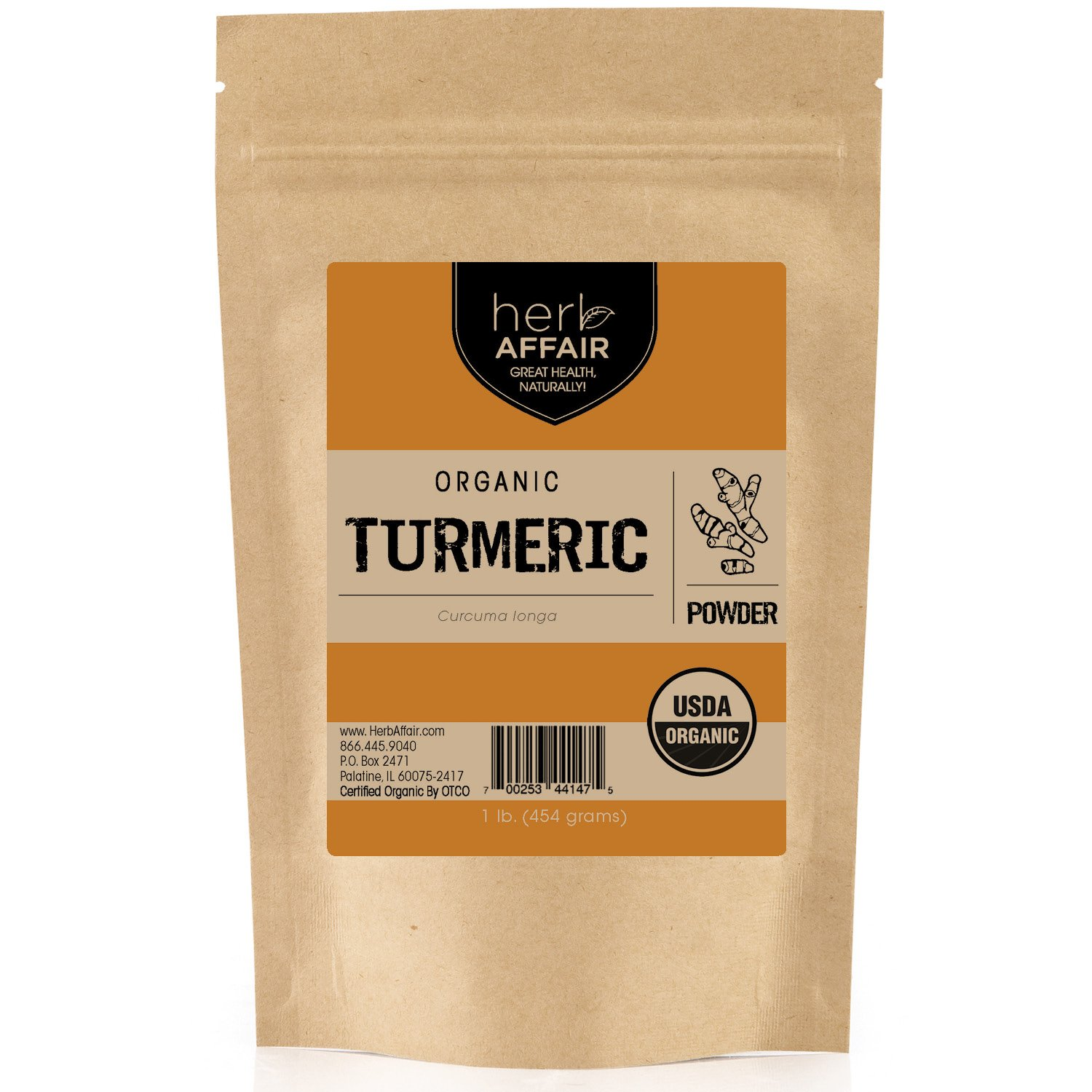 Herb Affair Organic Turmeric Root Powder, Bulk Package 1 Pound, Includes Free Recipe eBook