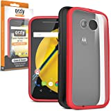 Orzly® FUSION Bumper Case for Moto E (2nd Gen) - Protective Hard Cover with Impact Absorbing RED Rubber Rim and Full Transparent Back Panel - Retail Packed - Designed by Orzly, specifically for use with the Motorola Moto E 2nd Generation 2015 Smartphone