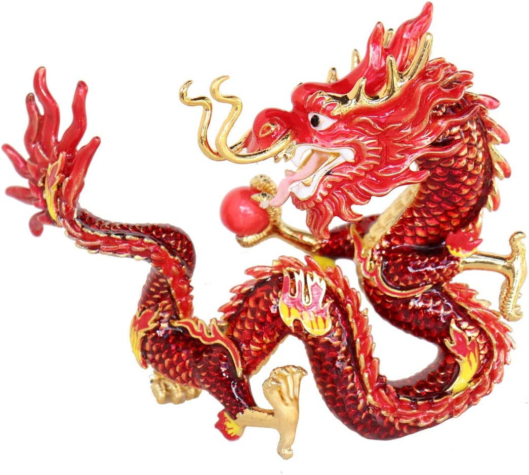 Feng Shui Fire Dragon Holding Fireball to Suppress Quarrelsome