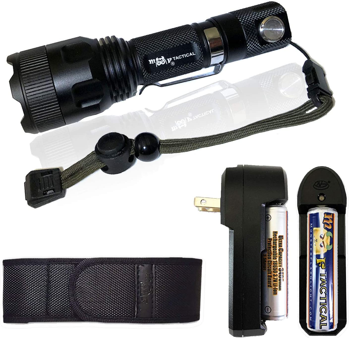 MF Tactical Delta-5 Rechargeable Tactical LED Flashlight Kit - 1300 Lumen Hi Quality Pro Grade 5 Mode w/Electronic Switch & Magnetic Base. Includes Li-ion Battery/Charger, Holster, Strap & Pocket Clip