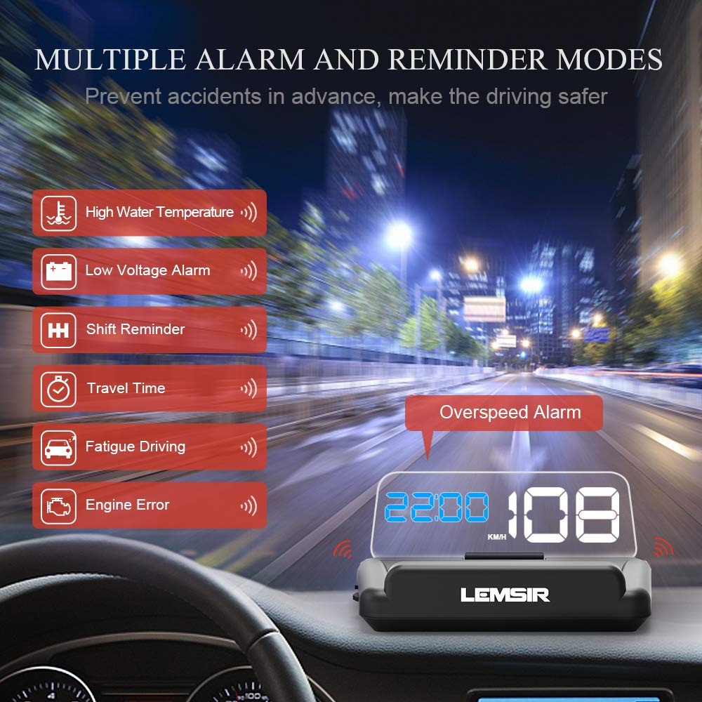 Head-Up Display, LEMSIR Car HUD Speedometer OBD II/EUOBD Interface with Foldable Display Board, Digital HD LED Projector Display Speed MPH Driving Reminder Alarm Light Sensor by LEMSIR (Image #6)