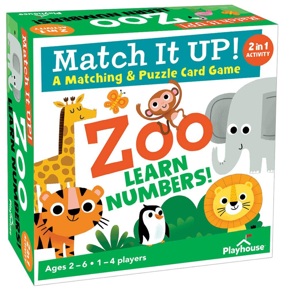 Playhouse Match it UP! Zoo Numbers Matching and Puzzle Card Game for Kids
