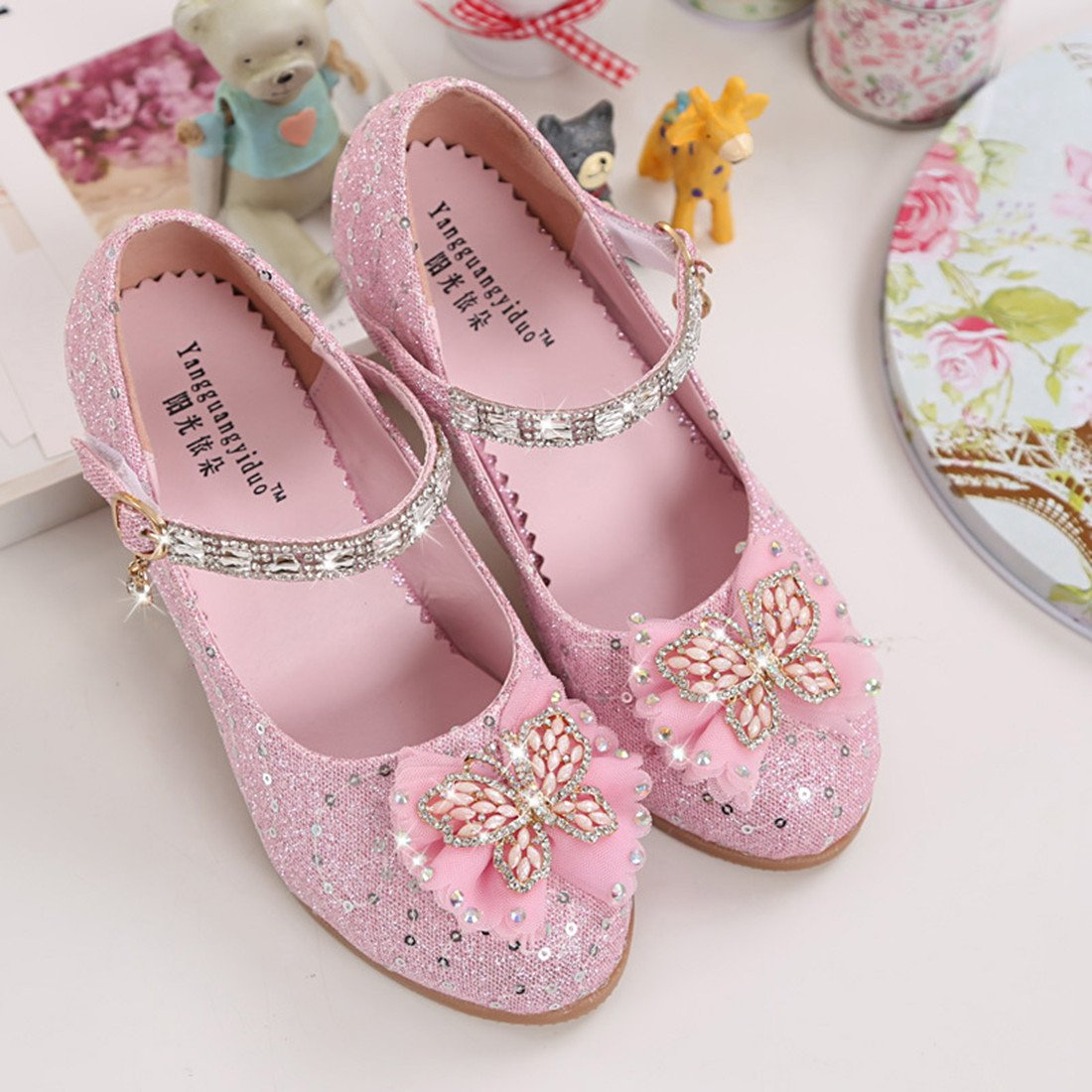 Toddler Littlle Big Kids Girls Glitter Wedding Shoes Dancing Party Mary Jane Flat Shoes Pink Size 2 by YANGXING (Image #3)