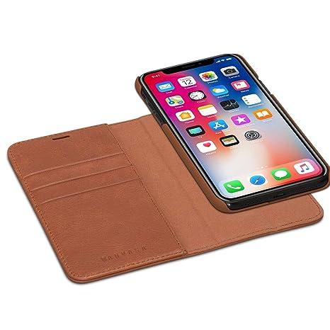 KANVASA Funda iPhone XS/iPhone X Case Cartera Desmontable Marrón Piel Auténtica Premium 2 en