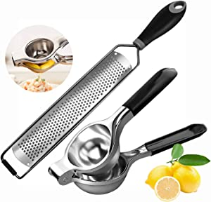 2 PK Lemon Lime Squeezer Press Stainless Steel Hand Juicer with Silicone Handles, Citrus Zester Cheese Grater with Sharp Blade, Protective Cover for Parmesan Cheese, Lemon, Ginger, Garlic
