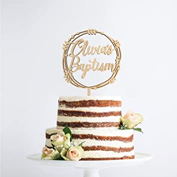 Ethelt5iv Benutzerdefinierte Taufe Cake Topper Personalisierte Taufe Cake Topper Religiöse Cake Topper Benutzerdefinierte Taufe Topper Holz Cake