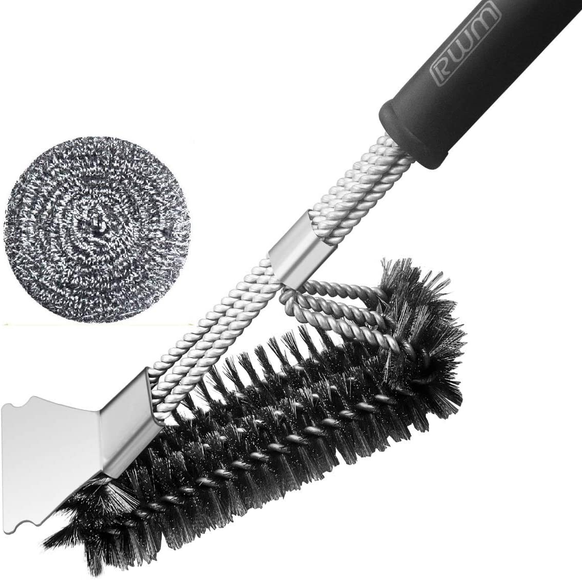 Grill Brush, RWM BBQ Grill Cleaning Brush 18 inch Stainless Steel 3-in-1 Wire Bristle Barbecue Brush Cleaner with Scraper for Gas/Charcoal Grill