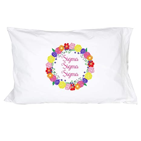 Alpha Sigma Tau Sorority Floral Wreath Pillowcase 300 Thread 100/% Cotton