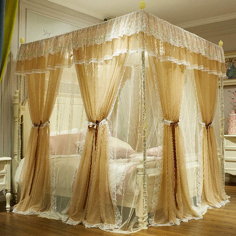 4コーナーポストキャノピーベッドカーテン,プリンセスレースベッドキャノピー 高級 二重層 ベッドの装飾のための蚊のネット-c