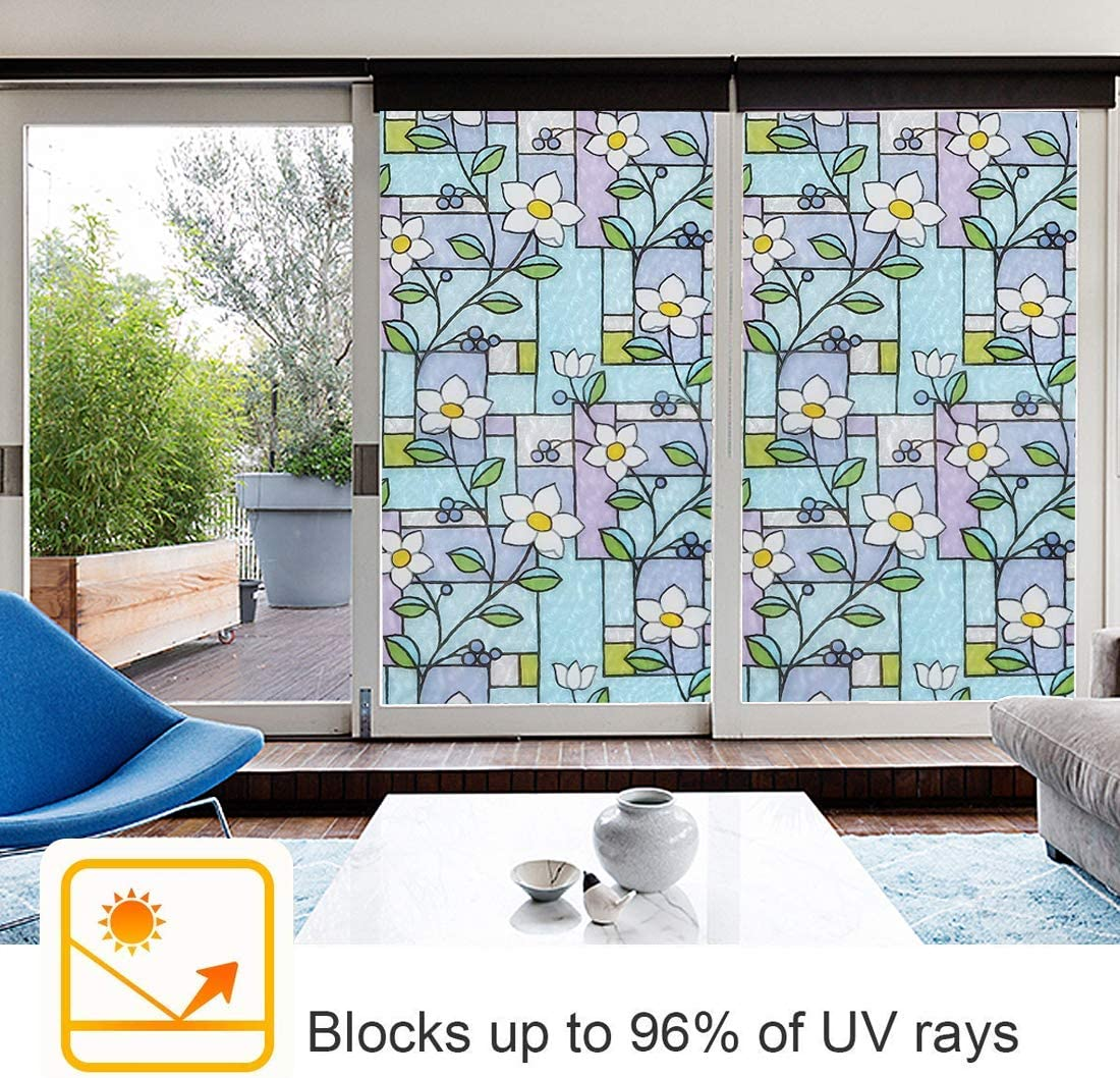 FILMGOO 3D Decorative Window Static Cling Film Privacy Decoration Self Adhesive for UV Blocking Heat Control Glass Tint Stickers for Home Living Room Bedroom 17.7 Inch x 6.5 Feet
