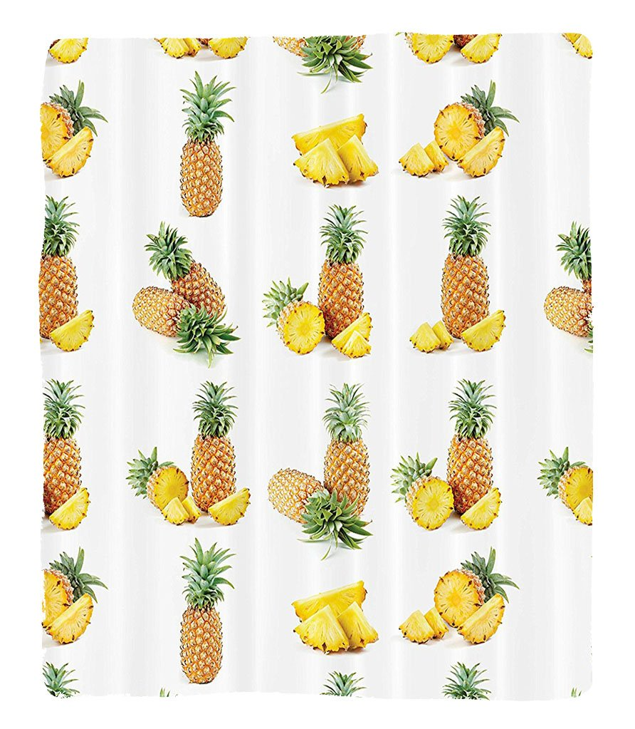 Chaoran 1 Fleece Blanket on Amazon Super Silky Soft All Season Super Plush Whole Half Pisces of Pineapple Picture Against Clear Background Image Print Fabric et Peru by chaoran