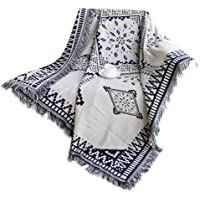 Lemonda MUL-Functional 2 Sides Use Cotton Warm Tassels Throw Blanket Carpet,Table Cloth, Wall Hanging Tapestry, Beach Traveling Office Sofa Blanket 51 X 71 inches