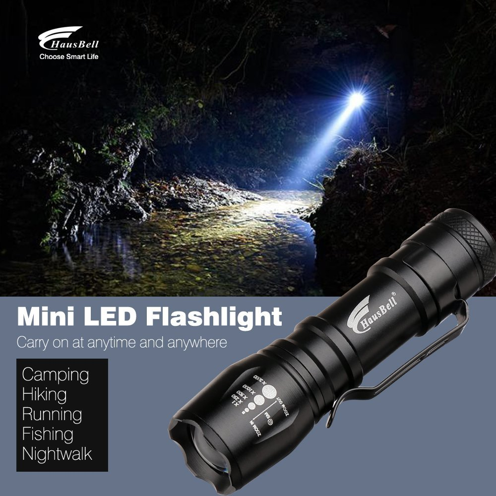 Hausbell 2 Pack Ultra Bright Flashlight, mini T6 Flashlights with 3 Modes for Camping