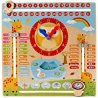Wish key Wooden Multifunctional Calendar Clock Seasonal Weather Early Childhood Learning Toys