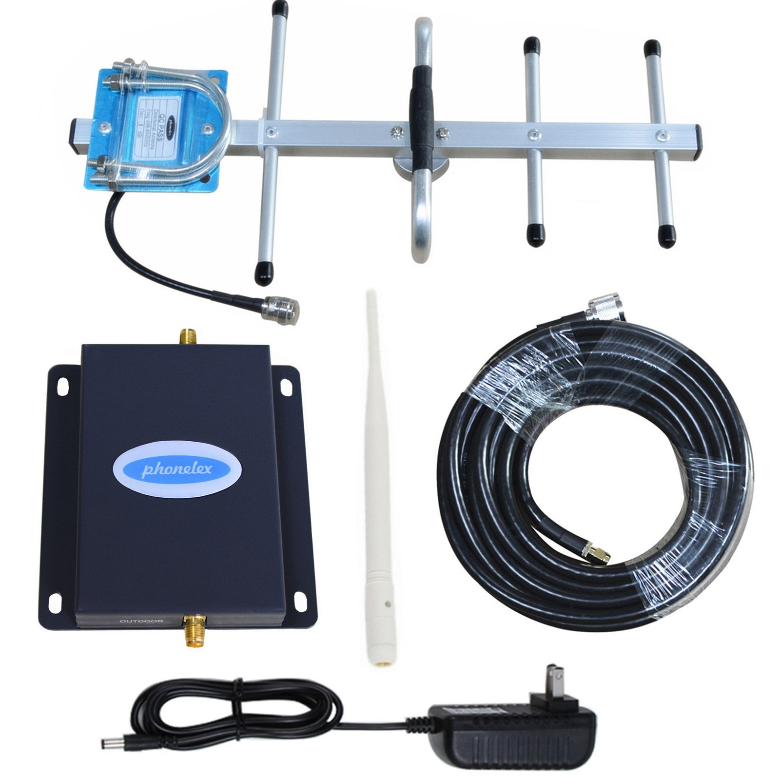 Cell Phone Signal Amplifier AT&T 4G LTE 700Mhz Band12/17 Phonelex Mobile Booster Repeater with Outside YaGi Directional and Inside Whip antennas Kits by phonelex (Image #1)