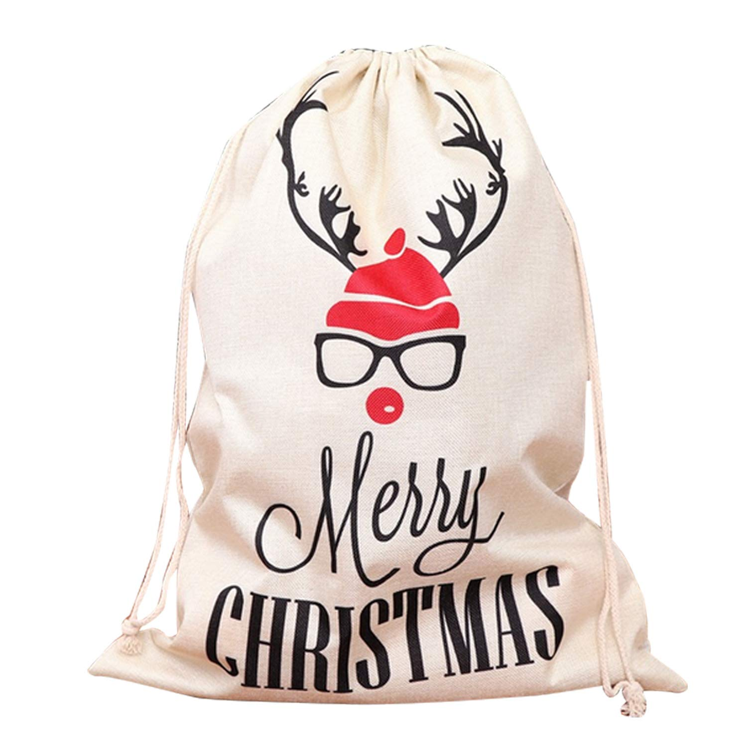 Cute Christmas Xmas Santa Sack Special Delivery Present Bags with Drawstring Closure Extra Large Size 25.59 x 18.50inch Style A Gosearca