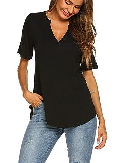 26da4355 Funic Womens Deep V Neck Shirt Bodycon Zipper Tight Pullover Short ...