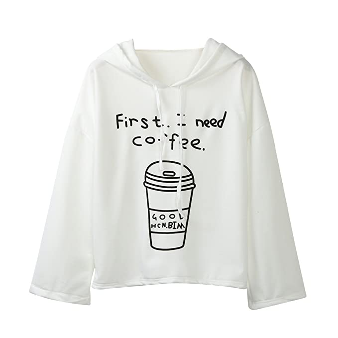 Longra First, I Need Coffee Impreso,Gato Sudaderas con Capucha Mujer Tumblr Largas Negra