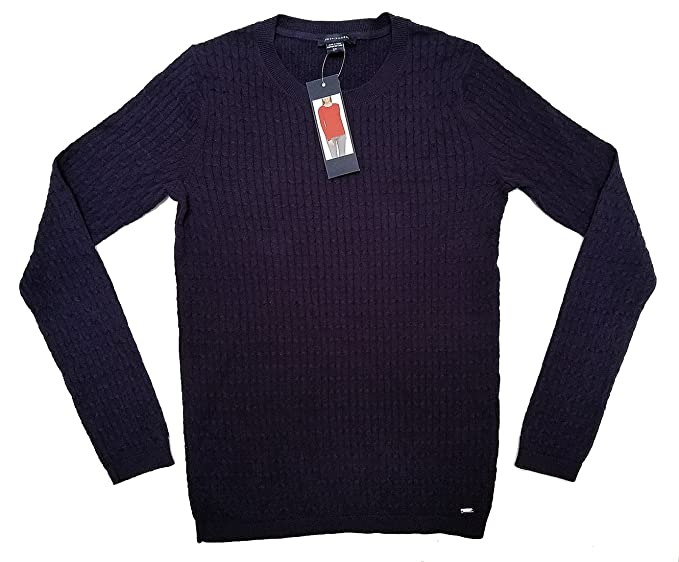 8d6fd321 Tommy Hilfiger - Women's 99% Cotton Lightweight Classic Cable Knit Sweater  - Navy Blue (