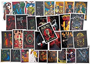 Rock and Roll Band Punk Music Vintage Stickers for Laptop Guitar Piano Violin Travel Case, 30PCS Vinyl Waterproof Stickers for Teen Adult (D)