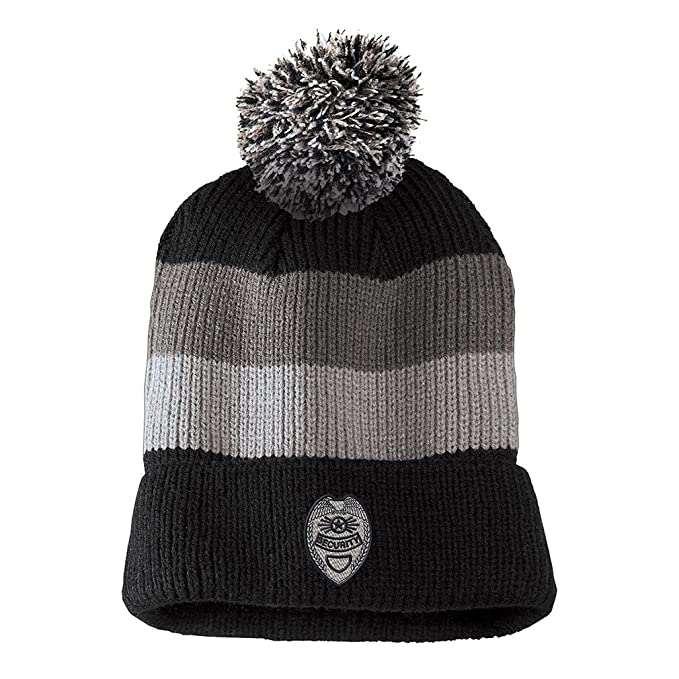 9f108d5dc7d Security Badge Embroidered Unisex Adult Acrylic Vintage Striped Removable  Pom Pom Beanie Winter Hat - Black