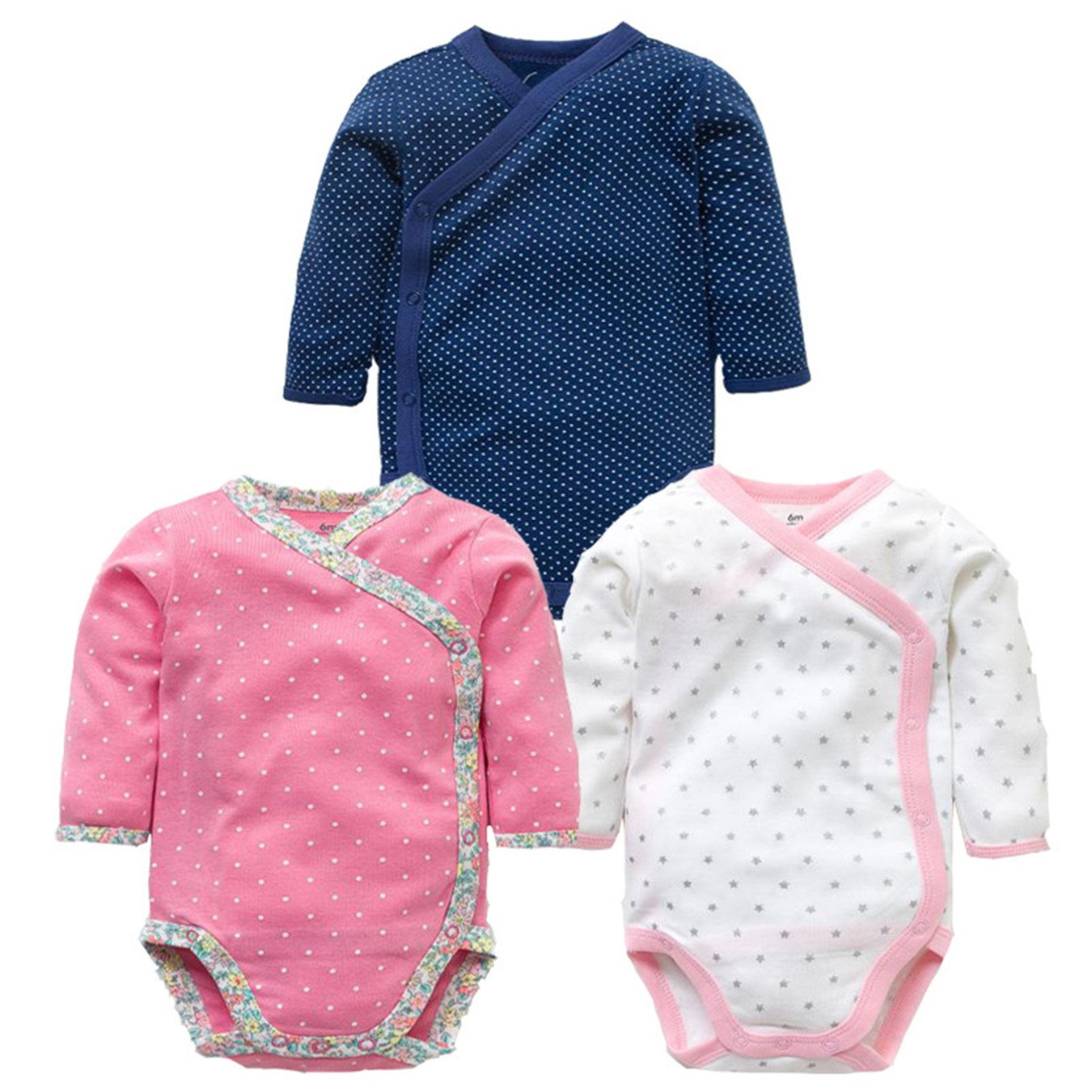 3 Pcs Baby Romper Long Sleeves Cotton Newborn Baby Girl Boy Clothes Cartoon Printed Baby Set 0-12 M