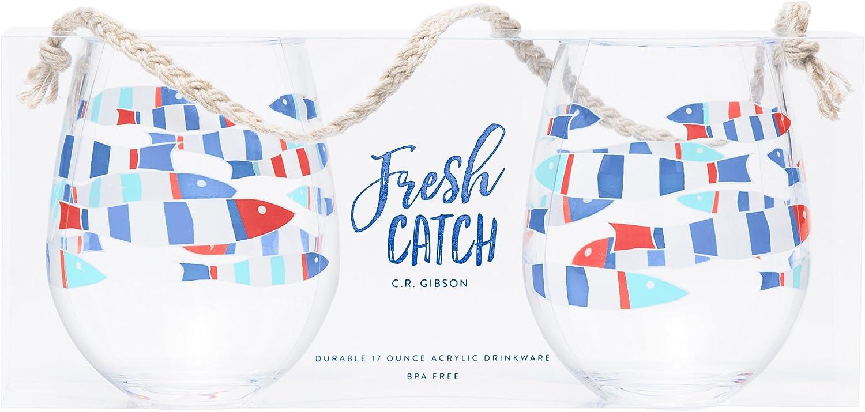 C.R. Gibson QWG2-18679 Beach House and Nautical Décor Fish Themed Acrylic Stemless Wine Glass, Set of 2, 15 oz.