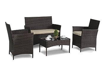 4 Piece Rattan Furniture Set Brown