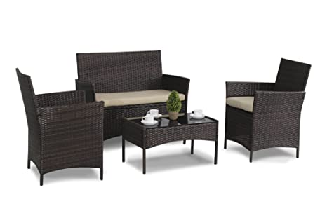 Set de muebles de ratán, color marrón, 4 piezas: Amazon.es ...