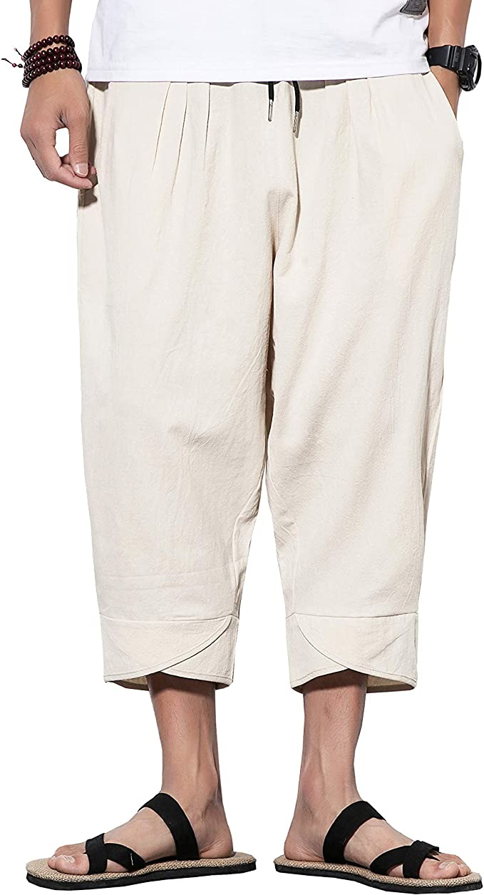 FRPE-Men Linen Cotton Classic Drop Crotch Shorts Capri 3//4 Harem Pants